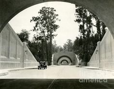 The Figueroa Tunnels in Los Angeles, taken in August of 1931, shortly before its opening.   A splendid example of early art deco.