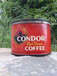 vintage CONDOR high flavor 1 Lb. coffee can on Etsy, $25.00