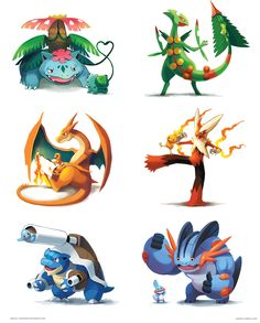 Pokemon Parental Bonds by arkeis-pokemon.deviantart.com. Featuring Mega Venusaur and Bulbasaur, Mega Sceptile and Treecko, Mega Chariazard Y and Charmander, Mega Blaziken and Torchic, Mega Blastoise and Squirtle, Mega Swampert and Mudkip.
