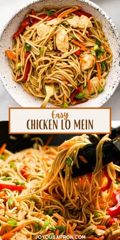 Chicken Lo Mein - easy, healthy and delicious Asian and Chinese noodle recipe, great for a quick dinner on busy weeknights! Lo mein noodles tossed in homemade sauce combined with veggies. Kid friendly and better than takeout! Egg Noodle Dishes, Chinese Noodle Dishes, Chinese Noodle Recipes, Asian Chicken Recipes, Asian Dinner Recipes, Easy Asian Recipes, Slow Cooked Chicken, Baked Chicken, Chicken Lo Mein