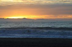 Sunset over the beach in Ventura, California.