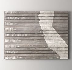Wood-Plank Surf Spot Art - Something like this but with the Hawaiian Islands
