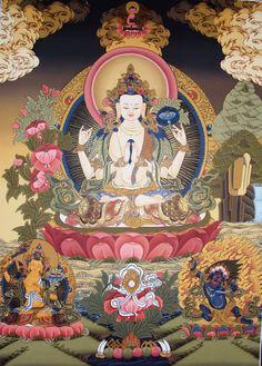 Chenrezig (Bodhisattva of Compassion) Tibetan Buddhist Thangka