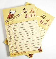 Owl TO DO LIST notepad (yellow) by boygirlparty, cute owl artwork - recycled paper list note pad. $8.00, via Etsy.