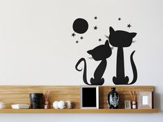 vinilo decorativo gato faro removible negro pa pared autoadhesivo