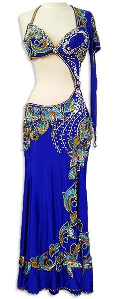 Electric Blue Egyptian Bra and Skirt Belly Dance Costume - At DancingRahana.com