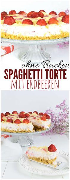 Spaghetti Eis Torte ohne Backen. Sommer Torte mit Erdbeeren.