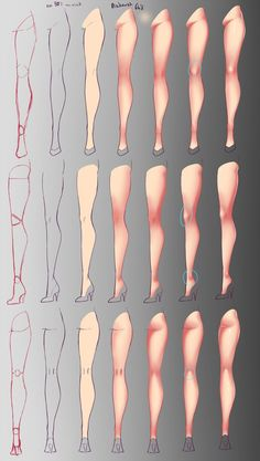 Enjoy a collection of references for Character Design: Legs Anatomy. The collection contains illustrations, sketches, model sheets and tutorials… This Digital Painting Tutorials, Digital Art Tutorial, Art Tutorials, Digital Paintings, Drawing Legs, Body Drawing, Anatomy Reference, Art Reference Poses, Leg Reference
