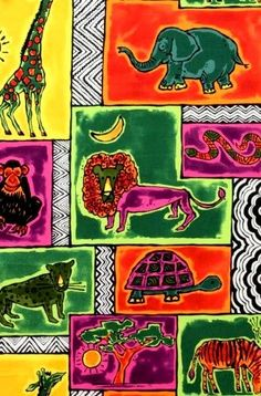 Cotton Quilt Fabric A Henry Fabric A Is For Africa Fabric Animals - product image