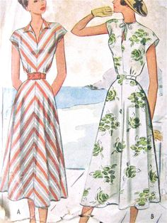 c3dcc561689 1940s McCall 7286 Vintage 40s Sewing Dress Pattern Bust 32 inches