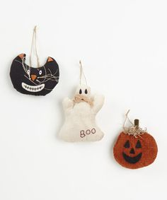 Take a look at this Ghost & Pumpkin Plush Ornament Set by Transpac Imports on #zulily today!