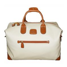 Handcrafted of coated canvas that looks and feels like pebble leather and accented with leather trim, the Bric's Firenze Duffle is a sporty yet elegant bag for today's traveler. Adjustable shoulder strap and organizing pockets help make travel easier. Travel Items, Travel Luggage, Travel Bags, Travel Stuff, Brics, Tote Bag, Weekender Bags, Duffel Bags, Pebbled Leather