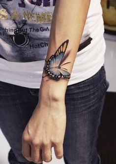 Nice New 3D Butterfly Tattoo On Wrist For Men