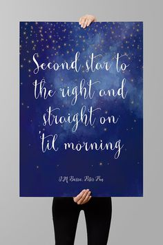 "J.M. Barrie quote Peter Pan quote Instant Download  - printable wall art, ""Second star to the right..."", nursery printable $3.70 USD by QuotesandProse"