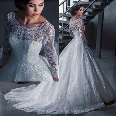 Купить товарМусульманский свадьба платья с длинная рукава аппликации великолепная свадебное платье белый / слоновая кость принцесса официальный платье в категории Свадебные платьяна AliExpress.                             Новый мусульманские свадебные платья с длинными рукавами аппликации великолепные