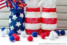 America Flag Mason Jars