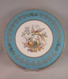 """Aynsley Turquoise and Gold Cabinet Plate with Bird and Fruit Basket Design, 10.6"""" by FelthamAntiques on Etsy"""
