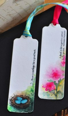 DIY Tutorial All Booked Up - watercolor bookmarks Watercolor Bookmarks, Watercolor Pencils, Watercolor Cards, Watercolor Flowers, Simple Watercolor, Tattoo Watercolor, Watercolor Animals, Watercolor Background, Watercolor Landscape