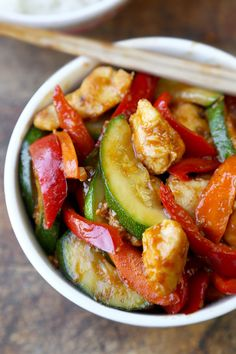Hunan Chicken is a popular Chinese-American dish made with tender pieces of chicken cooked with vegetables and tossed in a thick savory and spicy sauce.
