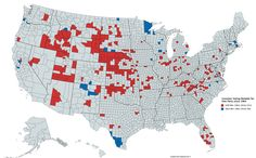 U.S. Counties reliably voting for one party since 1964