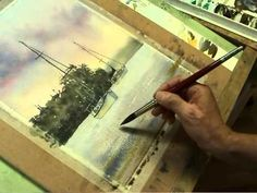 How to paint water --Good video--Watercolor Painting Shoal Bay Sunset Part 5 The Water -