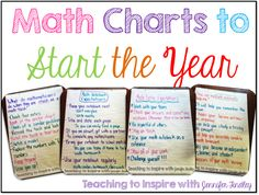Math Charts to Start the Year