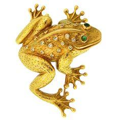 Gold, Diamond & Emerald Frog Pin