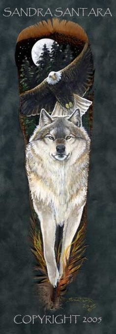 Spirit Walkers-- Timber Wolf and Bald Eagle painted feather print.