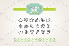 Hand drawn vegetables icons by miumiu on @creativemarket