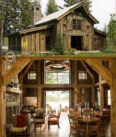 Great if you have a house party (barn renovation) Haus Am See, Barn Living, Living Room, Country Living, Barn Renovation, Pole Barn Homes, Modern Barn, Rustic Modern, Rustic Elegance