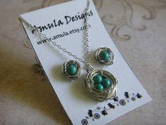 Turquoise Blue Bird's Nest Necklace and Earring Set. $15.00, via Etsy. OOOOH NEED