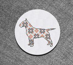 Cross Stitch Pattern  Bullterrier with ornament Instant by Kiokiz