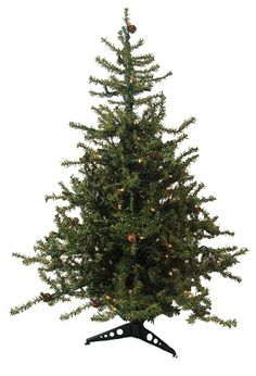 "$59.99-$69.99 4.5 Foot Tannenbaum Artificial Christmas Tree  Item #92040 Rustic, European-style tree is adorned with baby pine cones scattered throughout Features: 1357 tips that are 0.75"" wide Light green color  Medium profile tree Pre-lit with 250 clear mini lights If one bulb burns out, the rest will stay lit  Hinged branch construction 3-piece easy assembly (including stand) Light sets on tr ..."