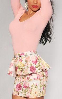 Fresh Floral Print Frill Decoration High Waist Skirt
