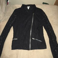 Long sleeve zip up dress sweater Mesh see-through sleeves with lace on the top layer. Not a thick sweater. Fits like an adult small but is a kids large Vanity Sweaters