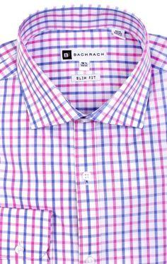 Ellis Slim Fit Button Cuff Purple Dress Shirt