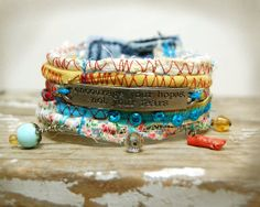 """Boho Rag Bracelet """"encourage your hopes, not your fears"""" by GallimaufryClothing, $28.00"""