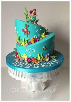 The little mermaid themed topsy turvy cake