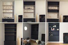 Creating built in shelving Living Room Plan, New Living Room, Living Room Furniture, Living Room Designs, Black Wall Shelves, Alcove Shelving, Chimney Breast, Modern Stairs, Lounge