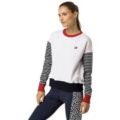 Tommy Hilfiger Layer Stripe Sweatshirt (420 RON) ❤ liked on Polyvore featuring tops, hoodies, sweatshirts, layered tops, tommy hilfiger top, stripe top, white top and white striped top