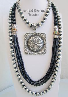 Schaef Designs Jewelry black onyx multi strand necklace, long 12mm bench bead necklace & Vincent Platero Navajo Artist LARGE Zia Concho Pendant