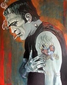 Forever.  Frankenstein gets inked.  Tattoo Art   I need this on a wall somewhere. In love.