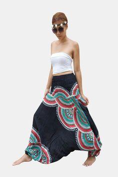 Thai Harem Pants Women Jumpsuit Floral Feather Haze Black
