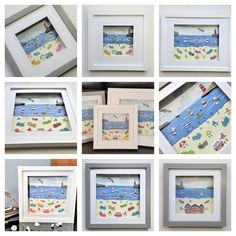 busy beach scenes created from pieces of Cornish sea glass and pottery Box Frames, Frames On Wall, Framed Wall Art, Cornish Beaches, Coastal Wall Decor, Unique Mothers Day Gifts, Glass Butterfly, Sea Glass Art, Beach Scenes