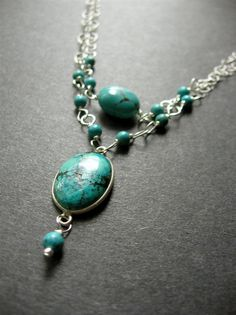 Turquoise Necklace. Wire Wrapped Necklace. by SimpleElementsDesign, $60.00