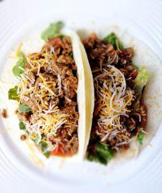 Tacos 2 small flour tortillas (80 calories each = 160) + 4 ounces taco ...