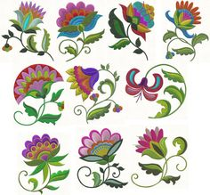 Spring Jacobean Machine Embroidery Designs 10 Designs for the Polish Embroidery, Mexican Embroidery, Hungarian Embroidery, Embroidery Patterns Free, Crewel Embroidery, Machine Embroidery Projects, Machine Embroidery Applique, Folk Art Flowers, Flower Art