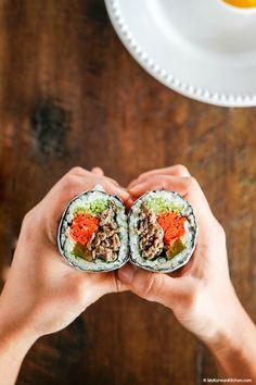 Bulgogi Kimbap - Sushi Burrito Style | MyKoreanKitchen.com