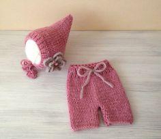 Newborn knit set,Newborn spring set,Knit baby shorts,Knit baby hat,Knitting baby hat,Knitting baby shorts,photo prop