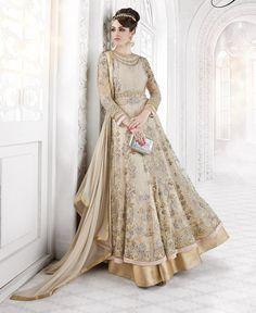 Shop Beautiful Beige embroidered Floor Length Anarkali Suit for weddings